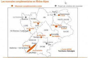 Carte monnaies complémentaires en Rhône-Alpes