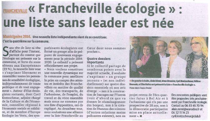 Francheville Écologie lance son projet pour les municipales !