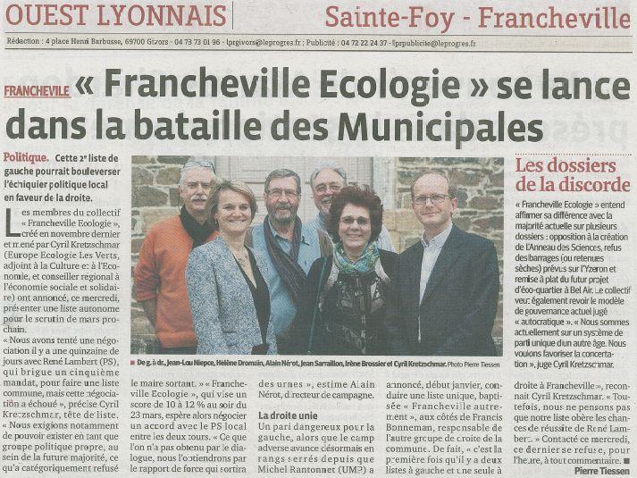 article le Progrès / Francheville écologie